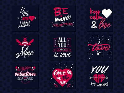 FREE DOWNLOAD Set of 9 Valentine's romantic phrases valentine day love day happy valentines day greeting graphic font elements drawn design decoration cute collection celebration card calligraphy black bees