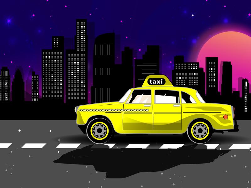 Vintage taxi LA driving taxi driver sky moon cab night los angeles taxi app taxi vector design illustration vintage
