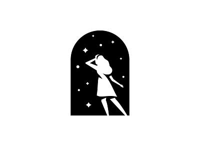 Doorway to Wonder negative space star girl doorway flat badge mark logo