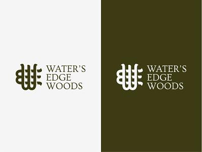 Waters Edge Woods Logo shadows typography monogram logo
