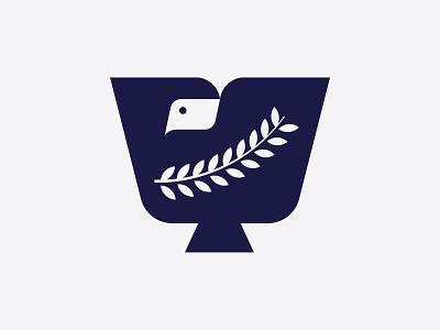Dove branch negative space bird dove animal logo