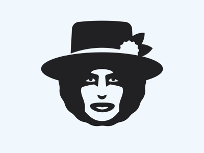 Bob Dylan hat flower guitar face badge logo