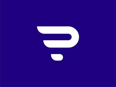 P Monogram letter p typography wing p logo