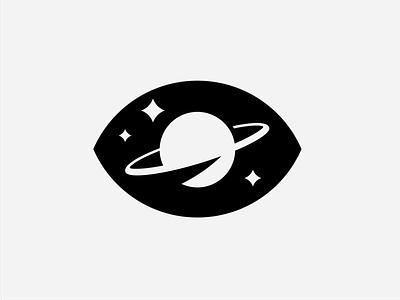 I Wonder branding galaxy stars negativespace logo planet eye