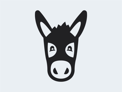 Donkey flat mule cute animal mark branding illustration logo