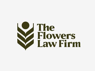 Flowers Law Firm Logo stacked serif geometric wheat mark logo
