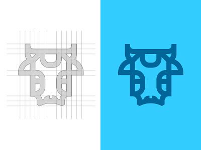 Ox Mark Grid grid flat outline blue illustration animal logo ox vector ux