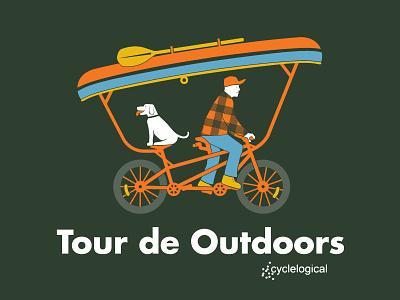 Tour de Outdoors II bike camping illustration plaid outdoors fishing canoe