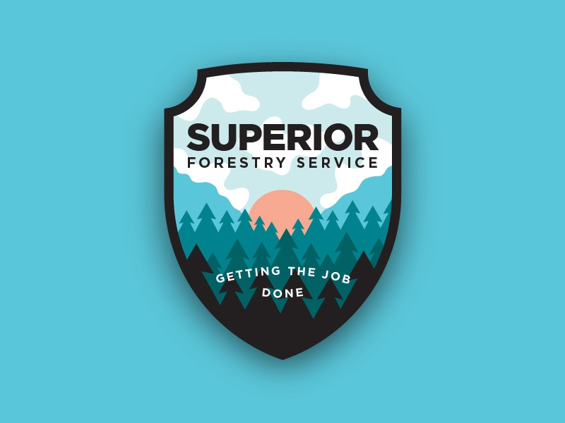 Superior Badge sunrise branding badge trees outdoors forestry