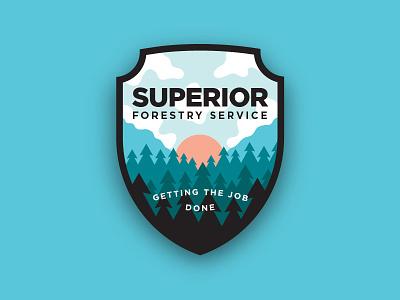 Superior Badge sunrise branding badge trees outdoors forestry