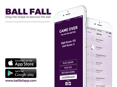 Ball Fall - Drag the shape to bounce the ball ios googleplay appstore android iphone app mobile