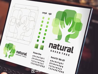 natural green tree vector ui logo illustration icon design bull branding apparel app