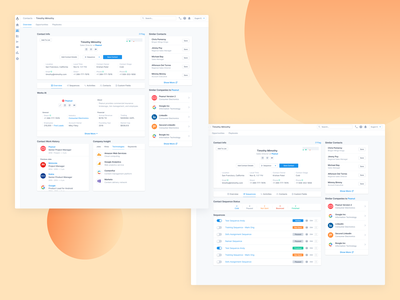 Contact Overview status insights insight work history recommended activities add add details dashboard strategy ui details page company info hubspot salesforce sequence details contact page contact