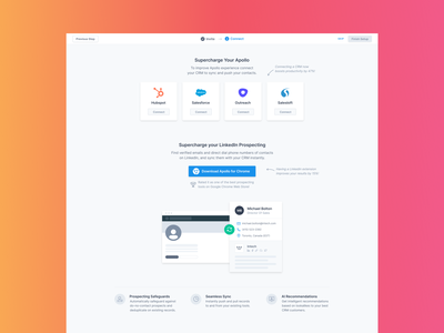 Welcome Wizard dashboard ui connections connect download linkedin salesforce apollo strategy saas onboarding screen welcome page welcome screen onboarding process welcome welcome wizard