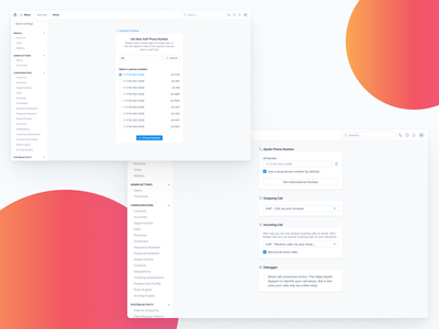 Settings / Voice ui dashboard strategy saas setting call voice integration integrate connection connect add management manage settings page settings ui settings