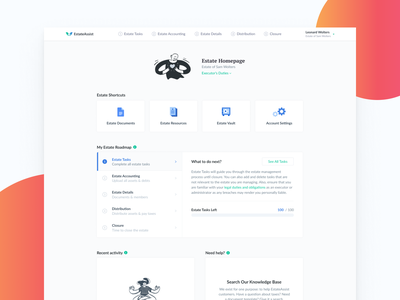Homepage - Old Draft tasks estate assist estate settings vault documents resources homepage ui activity details accounting homepage design to do roadmap ui dashboard strategy saas shortcut homepage