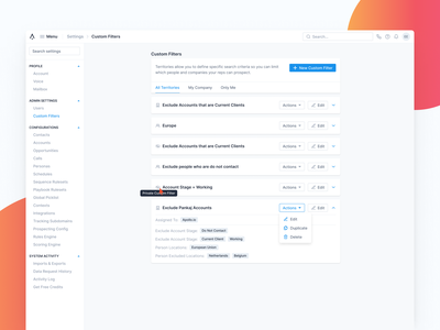 Manage Custom Filter settings filtering permissions permission actions edit include exclude ui dashboard strategy filters filter ui save filter create filter custom filter filter