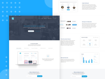 Alpha Product Page measure data usp features features page analytics graphics design design strategy product page saas