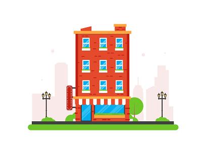 Building 01 city store apartement simple illustration flat building