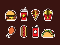 Fast food icons free 01