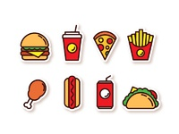 Fast food icons free 01 03