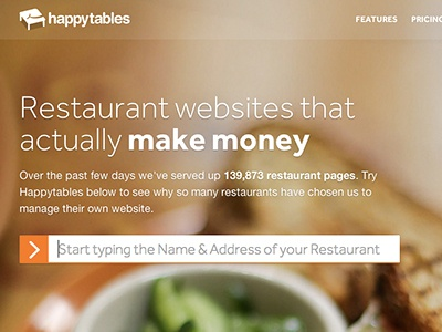 Happytables Landing Page
