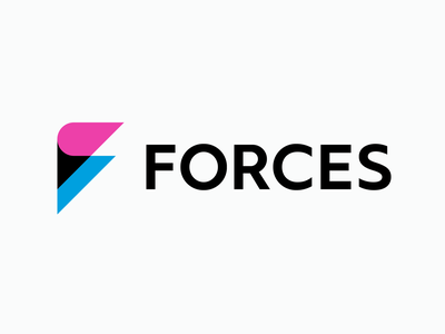FORCES logo redesign creator blue pink woman gaming videogame gameproduction guidelines grid graphic design graphicdesign branding brand logodesign logo design identity logo behance project behance