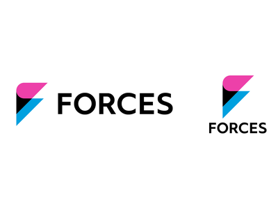 FORCES logo triangle woman videogame redesign pink logodesign mark logo identity guideline graphicdesign gaming gameproduction creator branding brand blue behance