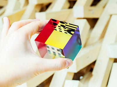 MTRL_Acrylic cube 2 fab acrylic cube sticker logo kyoto japan identity co-working brand