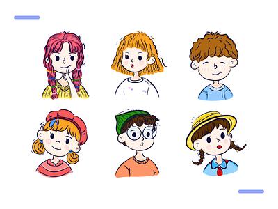 Illustration head portrait face portrait decoration element visual head portrait branding illustration icon design dailyui ui