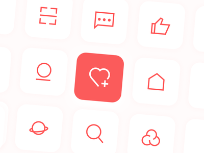 Chaowan app icons give a like collect linear design linear icons plaything chaowan red app branding illustration icons home icon design dailyui ui