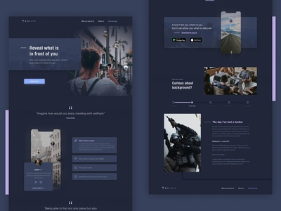 Augmented reality app landing page