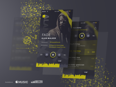 Faded Alan Walker music player  🎶  music player ux ui concept sketch