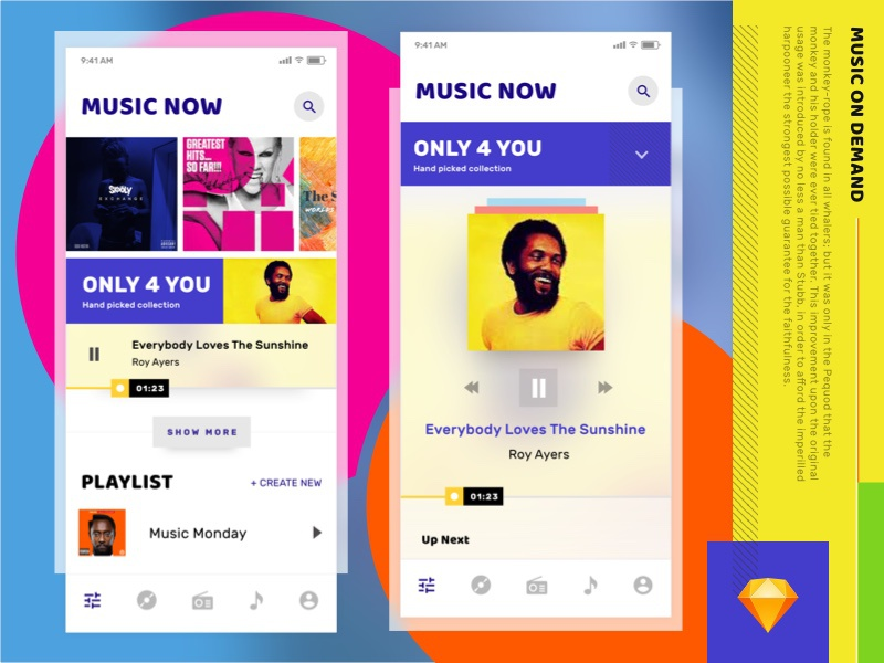 Music Player ui ux sketch