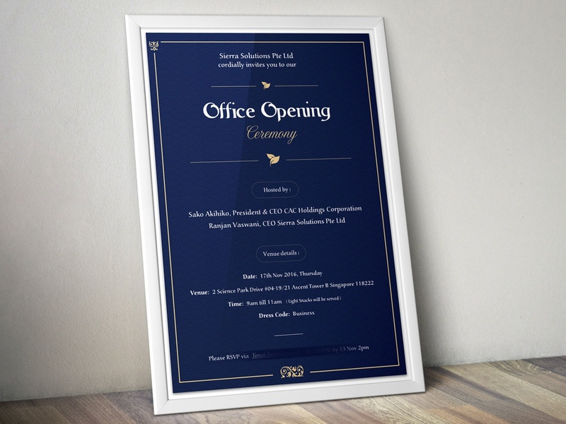 Office Opening Ceremony Card. design sketch