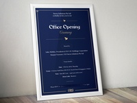 Office Opening Ceremony Card.