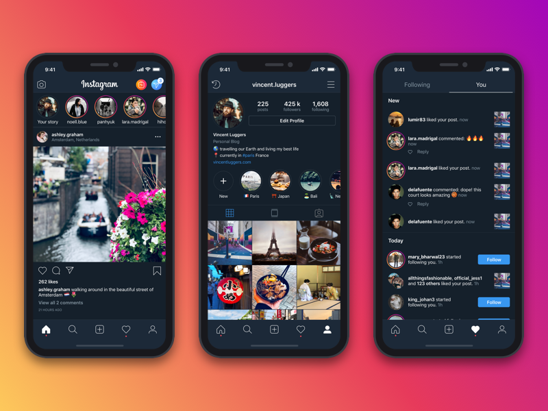 Instagram Dark Mode social media ui design dark mode instagram app concept ui