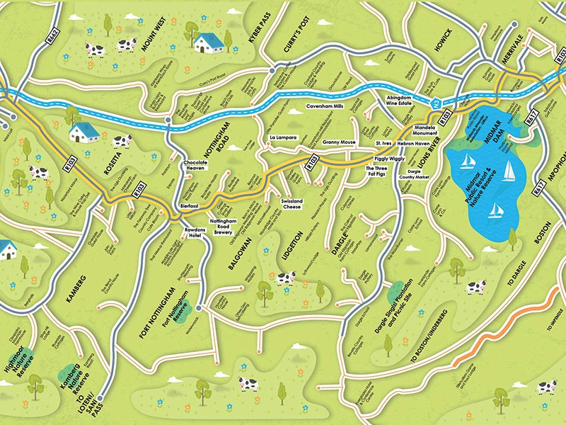 Midlands Meander Map by Jaco Oosthuyzen  Dribbble