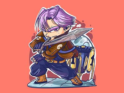 Future Trunks tshirt chibi illustration design character comic manga anime dragonball futuretrunks trunks