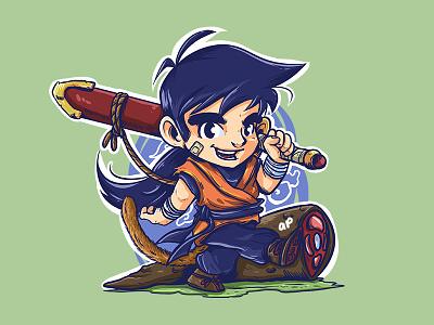 Kid Gohan chibi illustration design character comic manga anime dragonball gohan kid