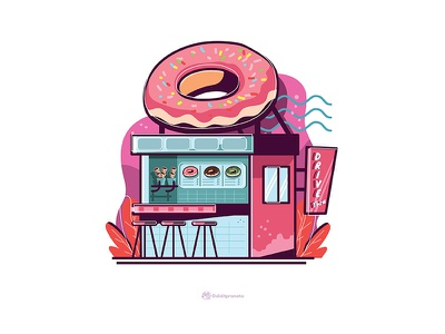 Doughnuts store fun concept art 2d vector cartoon illustration design
