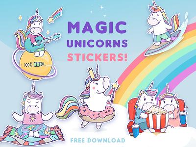 Stickers Magic Unicorns for Telegram rainbow character horse free download cartoon telegram unicorn stickers
