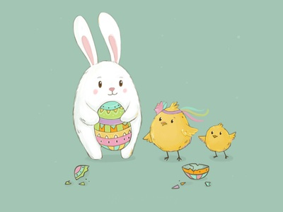Easter Mood character design hare cute animals chicken rabbit bunny easter egg easter