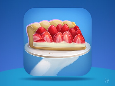 Strawberry Pie - App Store Icon pie food kids game app design app icon ui design illustration game cartoon