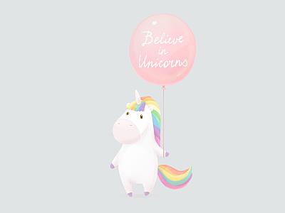 Believe In Unicorns  pegasus rainbow pony animal character cartoon cute magic balloon horse unicorn
