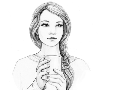 Tea Time. Book illustration book winter hairstyle character romantic tea cup pencil drawing woman