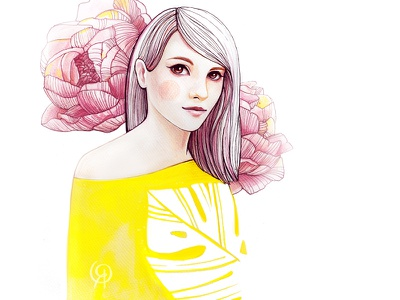 Yellow Spring graphic portrait beauty fashion spring flowers woman pencil watercolor