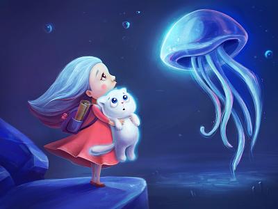 Starry Cat kids book girl magic travel jellyfish illustration cat