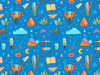 Vector Patterns doodle cloud cactus whale vector summer pattern