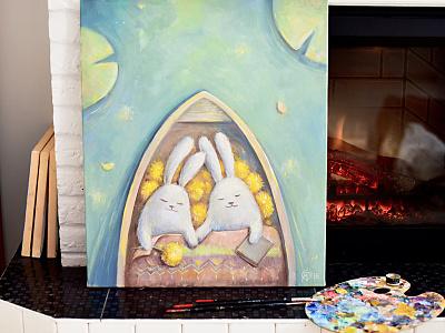Bunnies. Oil painting artworks animal love painting oil fairy tale illustration rabbit bunny